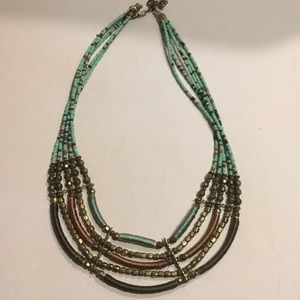 Jewelry - Imported African five strand teal beaded necklace